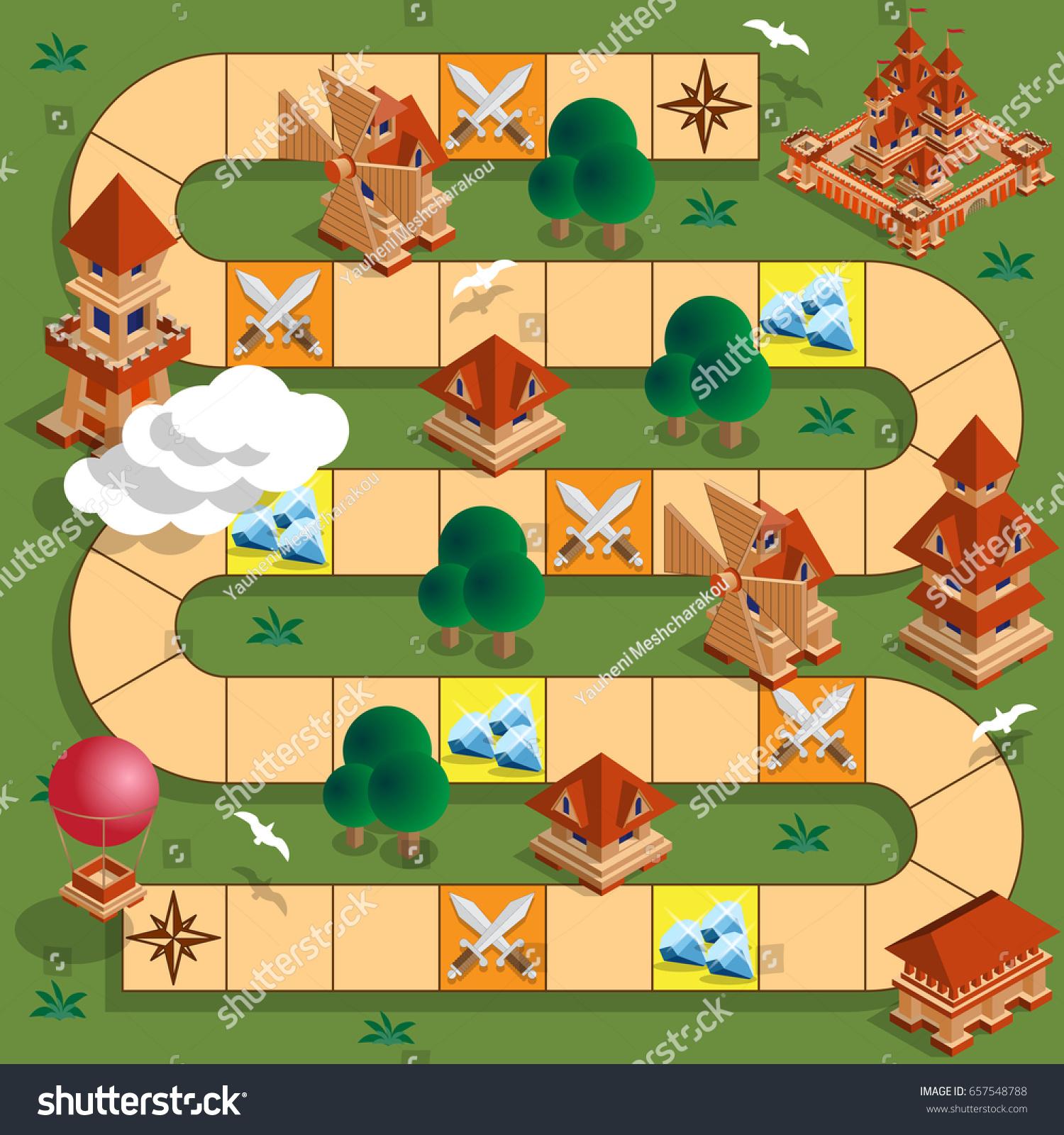 Board Game Medieval Theme Vector Design Stock Vector Royalty Free - Board game design