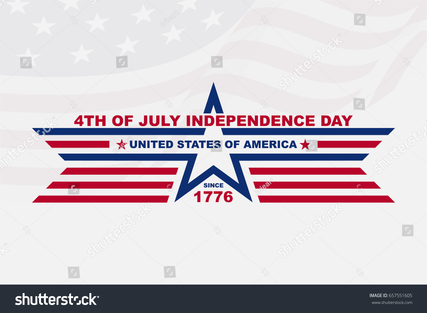 Clean Flat American Independence Day Background For Greeting Card
