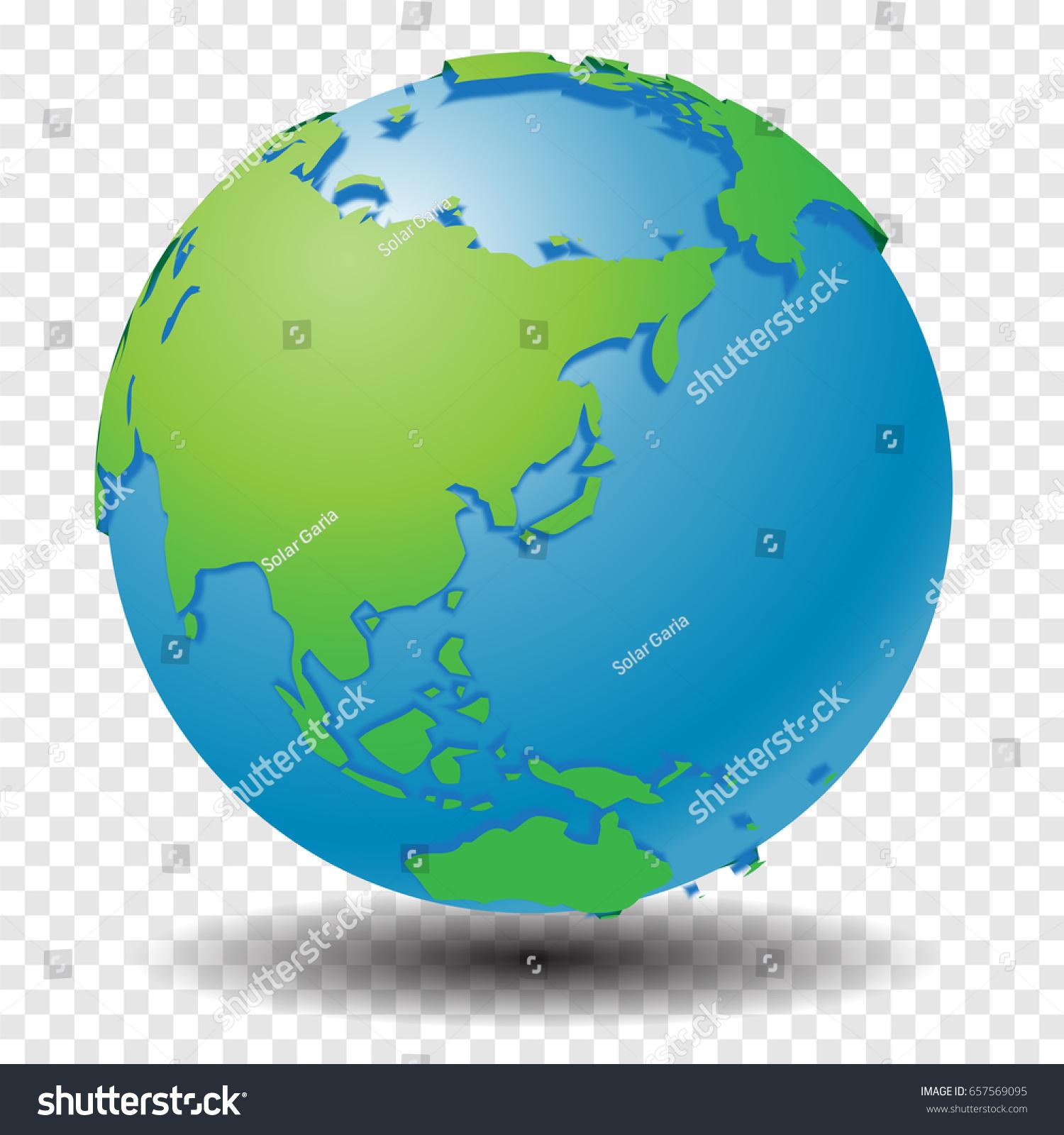 Globe World Map Show Asia Region Stock Vector Shutterstock - Show world map