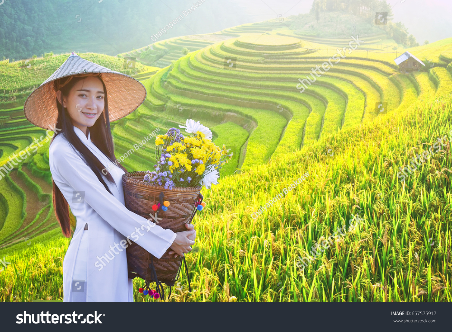 Beautiful Woman Vietnam Culture Traditional Dress Stock Photo Edit Now 657575917