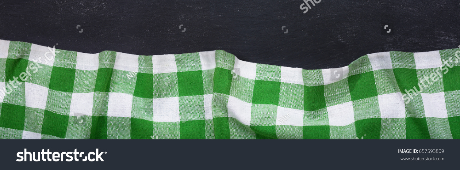 Green Checkered Tablecloth On Dark Table, Top View With Copy Space, Banner