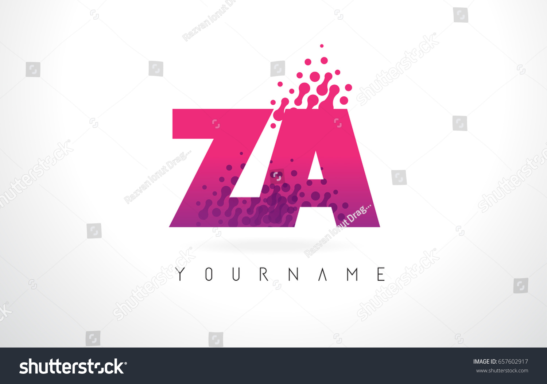 ZA Z Letter Logo Pink Letters Stock Vector (Royalty Free) 657602917 ...
