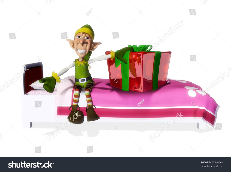 Santa Helper Present On Bed Stock Illustration 65760964
