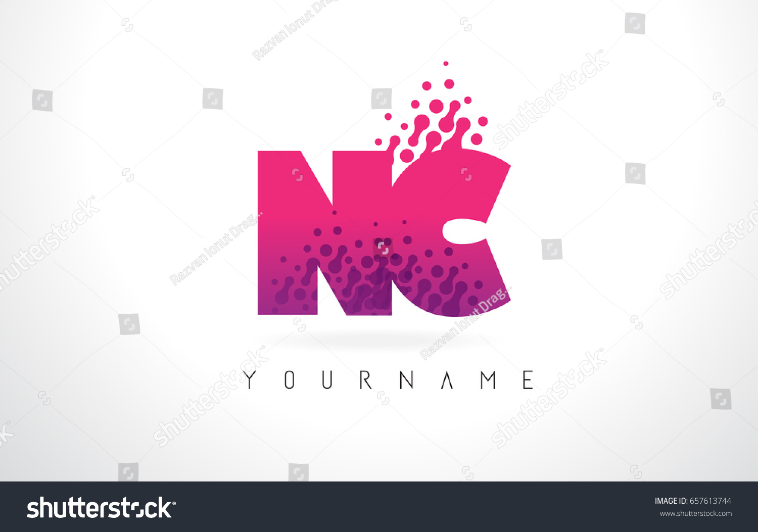 NC N C Letter Logo Pink Stock Vector (Royalty Free) 657613744 ...