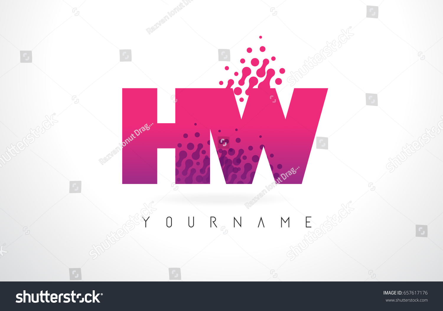 HW H W Letter Logo Pink Stock Vector (Royalty Free) 657617176 ...