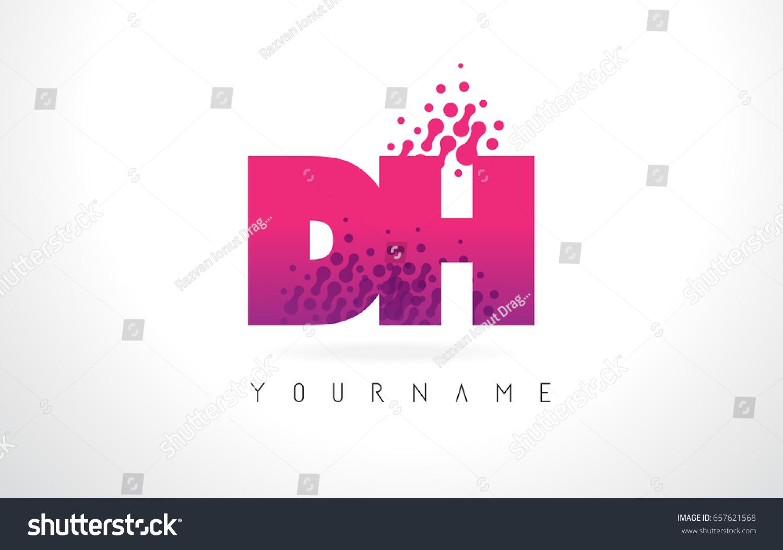 DH D H Letter Logo Pink Stock Vector 657621568 - Shutterstock