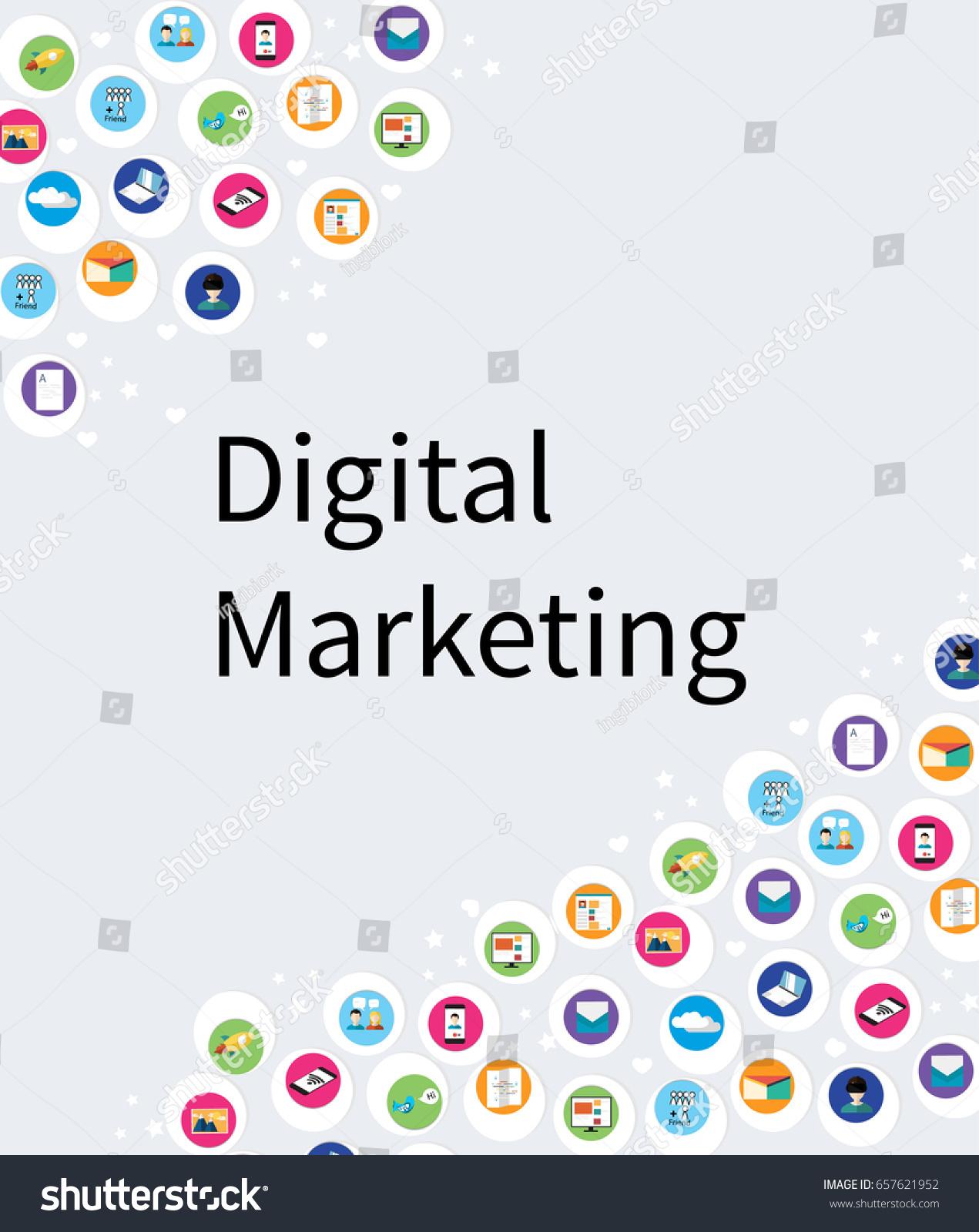 digital marketing abstract presentation template social stock vector