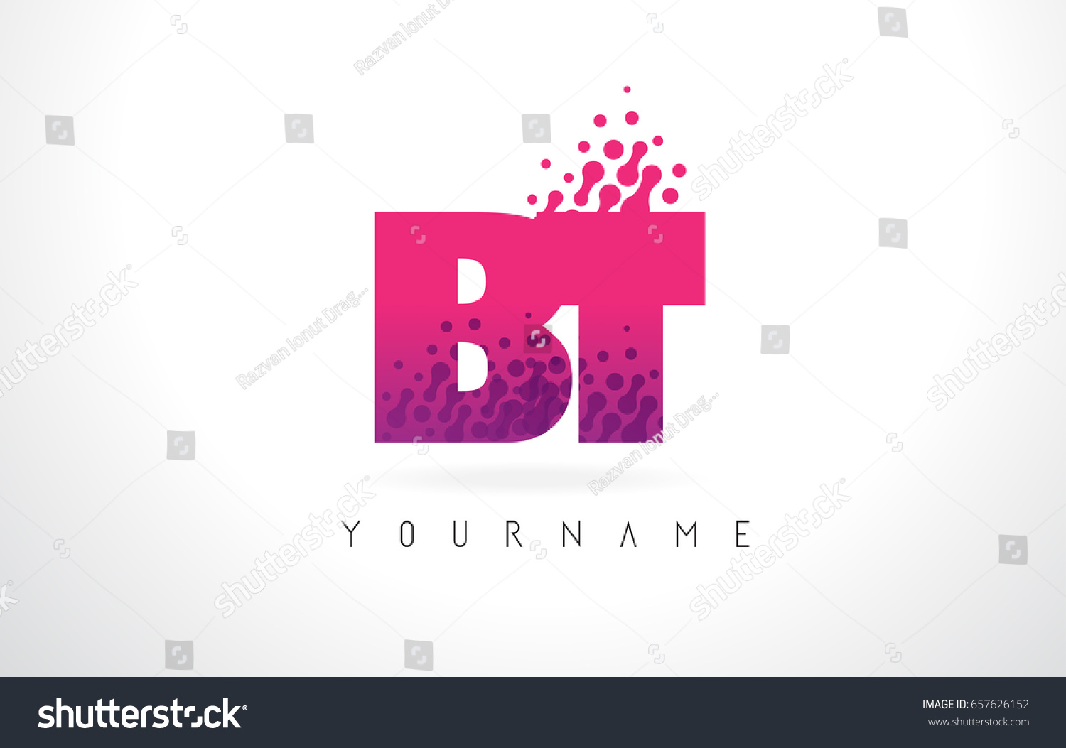 BT B T Letter Logo Pink Stock Vector (Royalty Free) 657626152 ...