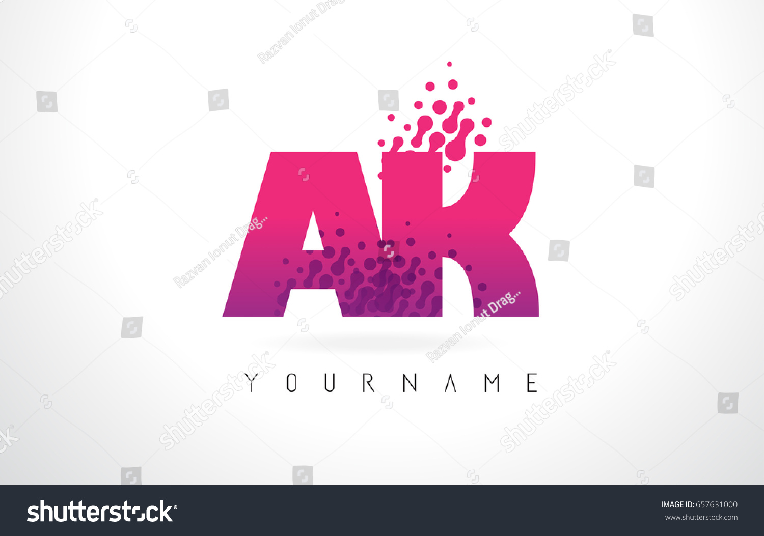 AK K Letter Logo Pink Letters Stock Vector (Royalty Free) 657631000 ...