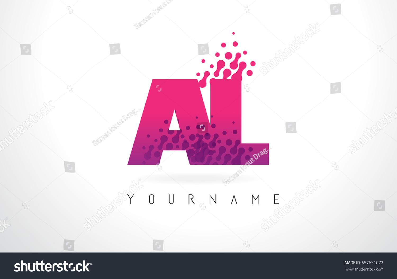AL L Letter Logo Pink Letters Stock Vector (Royalty Free) 657631072 ...