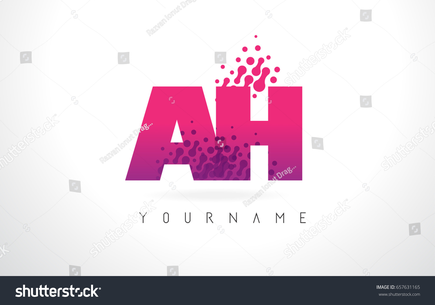AH H Letter Logo Pink Letters Stock Vector (Royalty Free) 657631165 ...