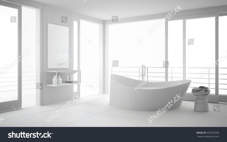 Total White Minimalist Bathroom Big Bath Stock Illustration ...