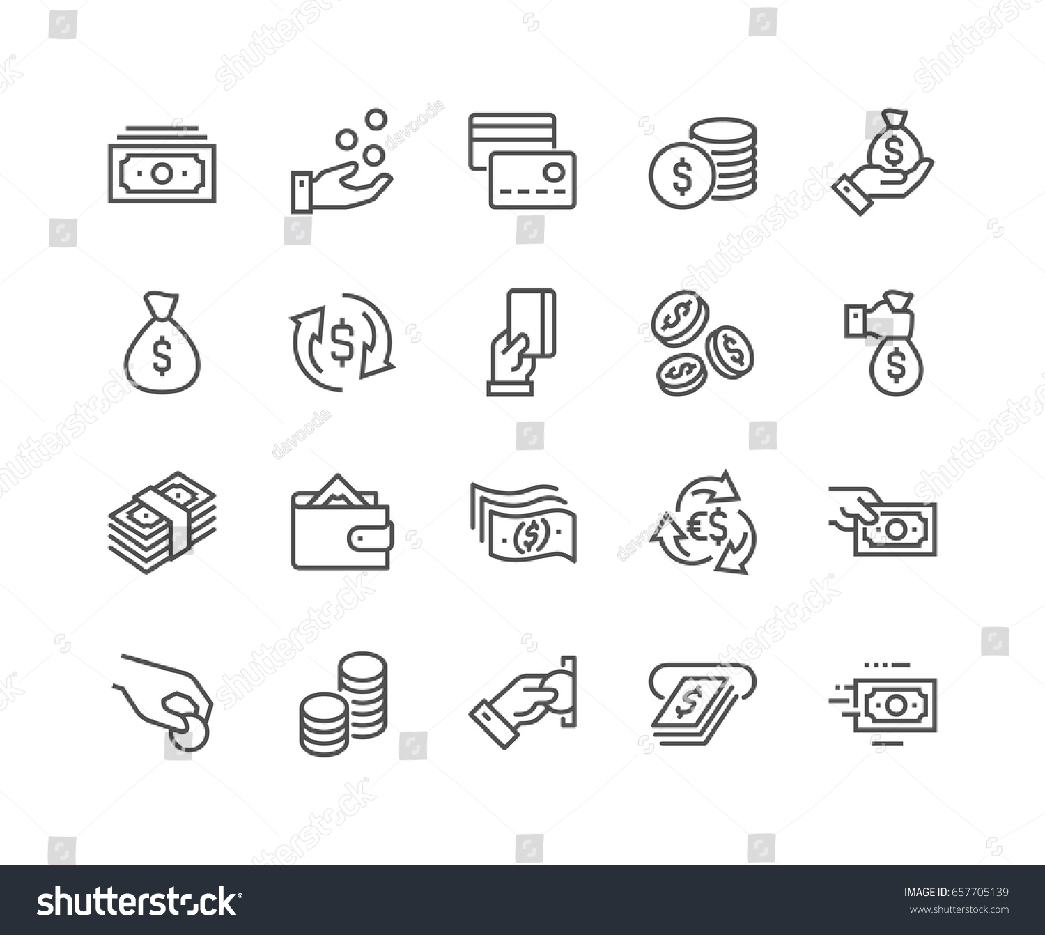 Simple Set of Money Related Vector Line Icons.  Contains such Icons as Wallet, ATM, Bundle of Money, Hand with a Coin and more. Editable Stroke. 48x48 Pixel Perfect. #657705139