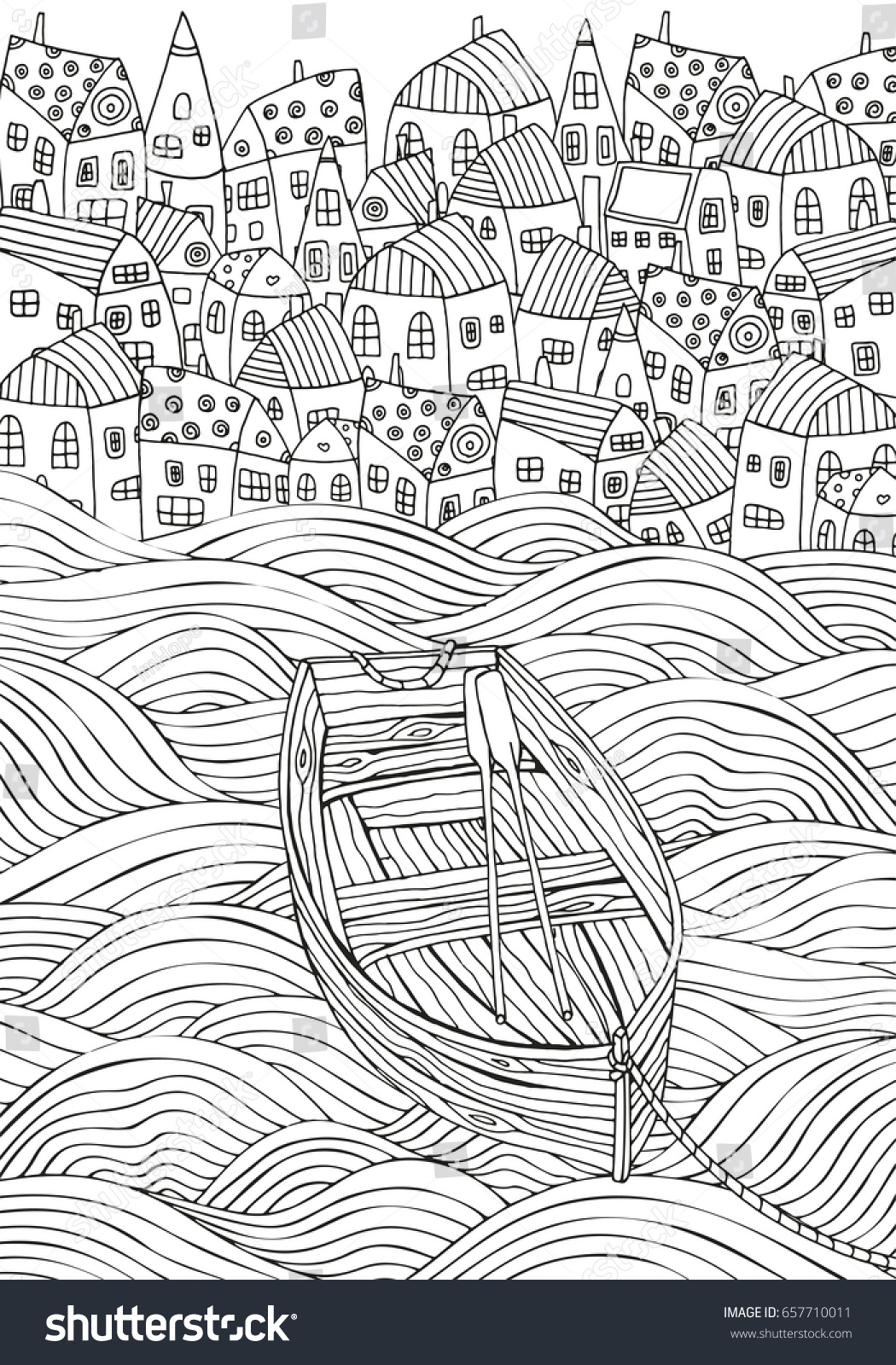 Wooden Boat Floating On The Waves Seaside Homes Sea Art