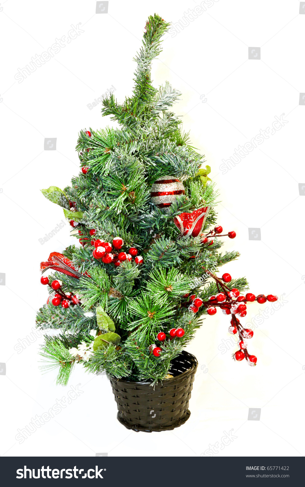 Small Tabletop Decorated Christmas Tree In Pot Stock Photo