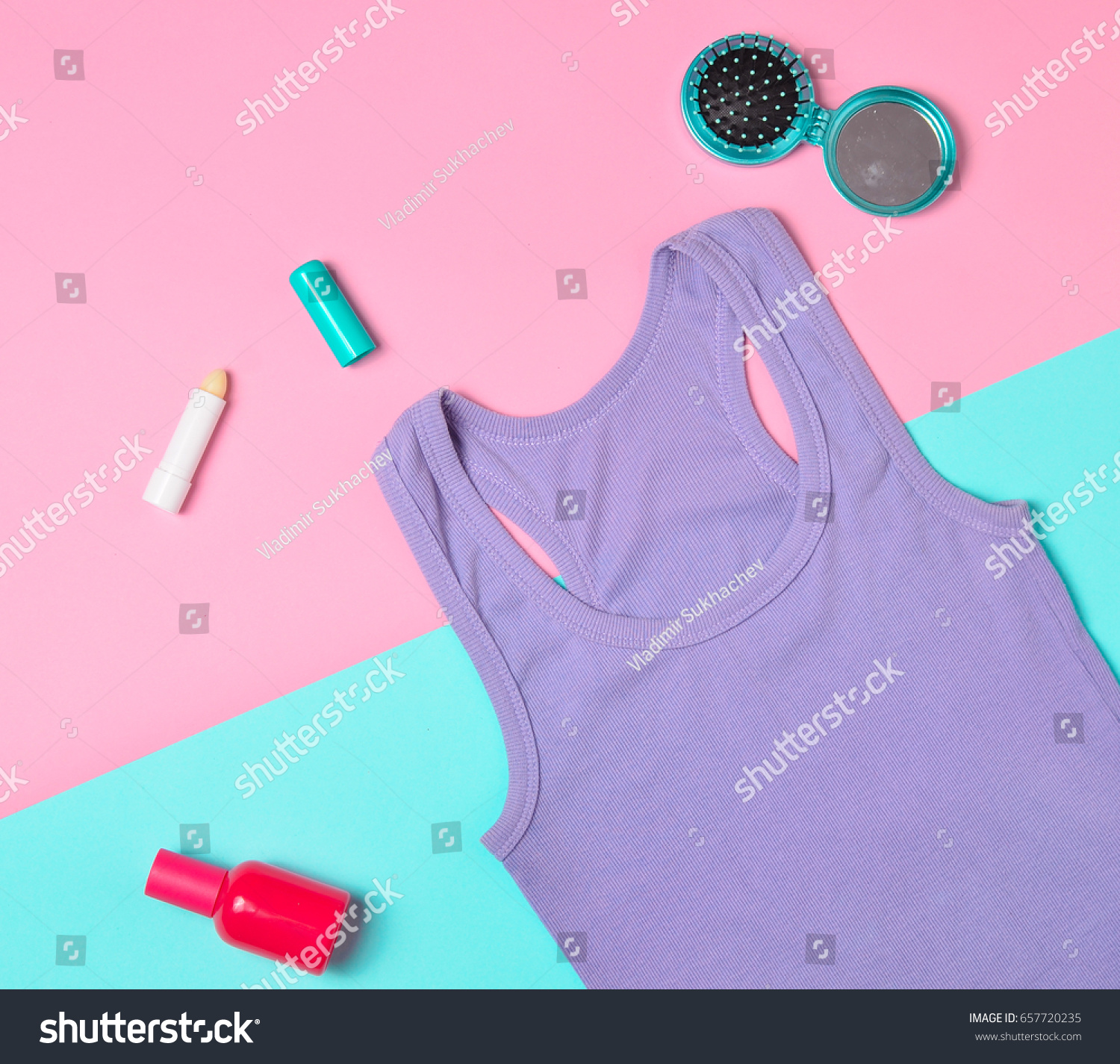 Purple Tshirt Purse Cosmetics Lined On Stock Photo Edit Now