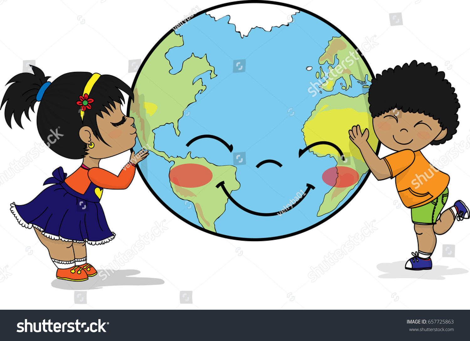 kids celebrating happy earth day smiling stock illustration rh shutterstock com earth day clipart earth day clipart black and white
