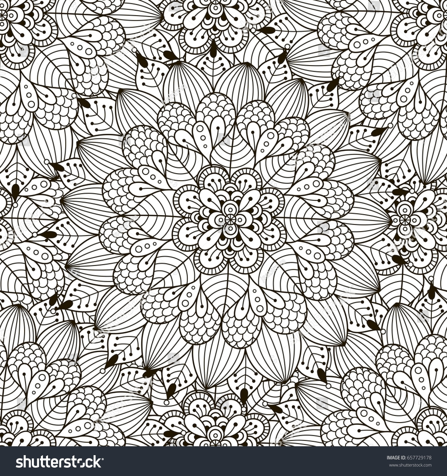 Floral Ornament Seamless Pattern Coloring Page Stock Vector ...