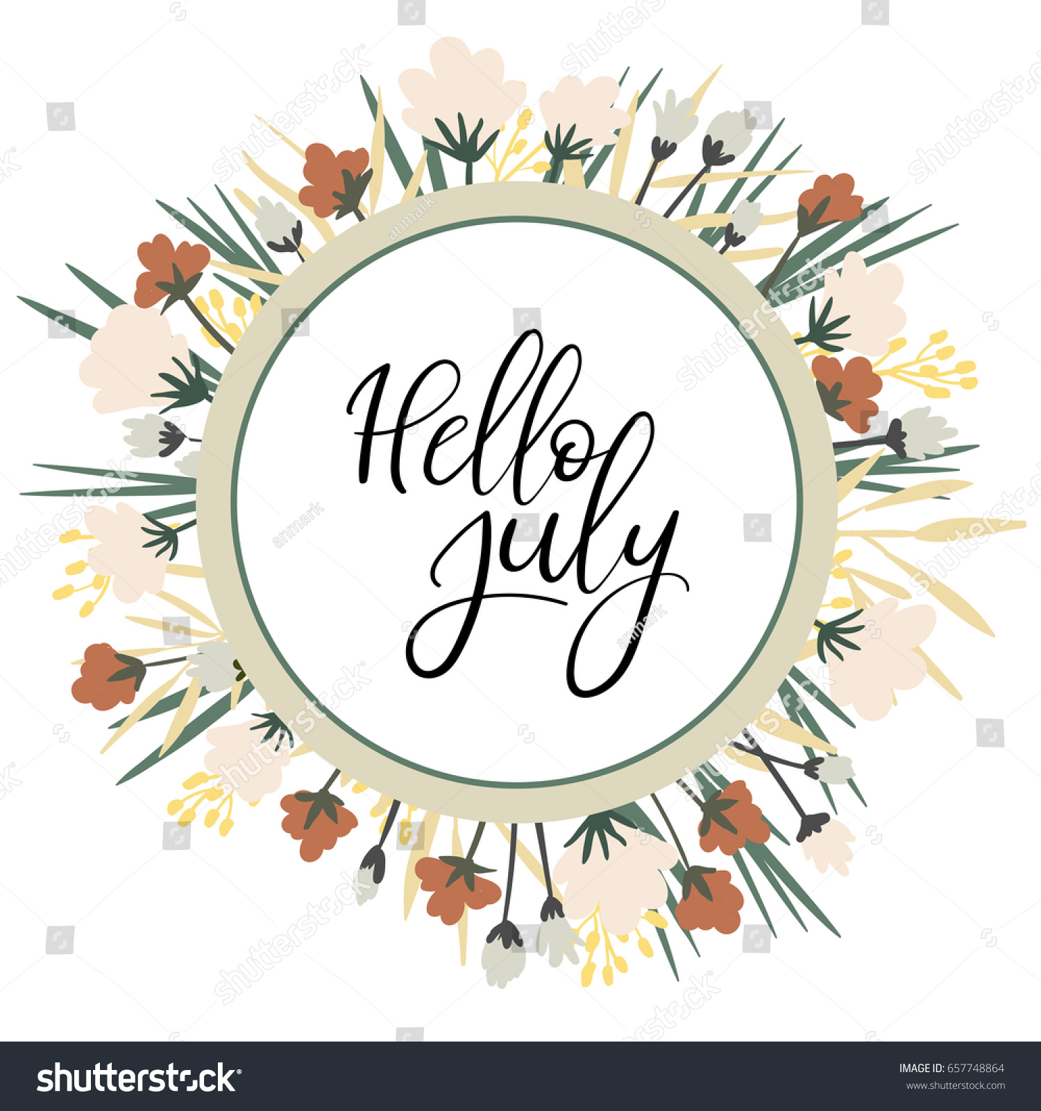 Hello July Calligraphy Inscription. Summer Greeting Card, Postcard, Card,  Invitation, Banner