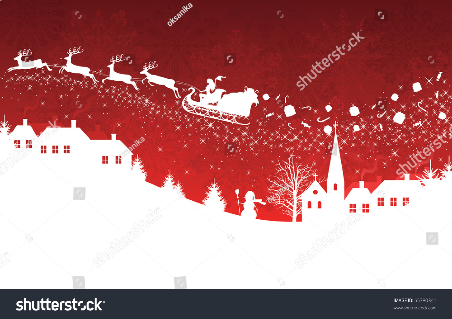 Silhouette Woman Santa On Sledge Harnessed Stock Vector