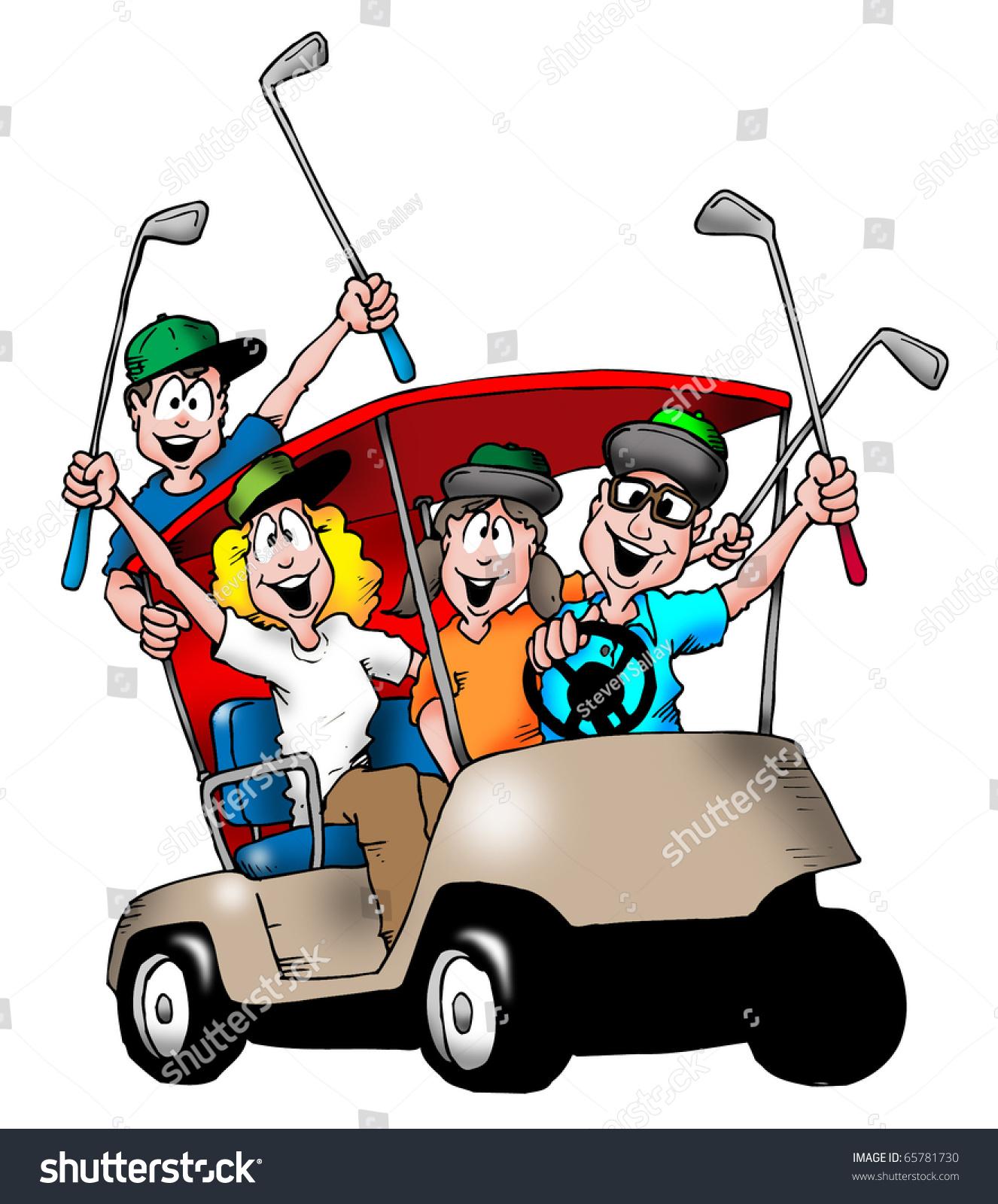 Image Family Playing Golf Riding Golf Stock Illustration 65781730