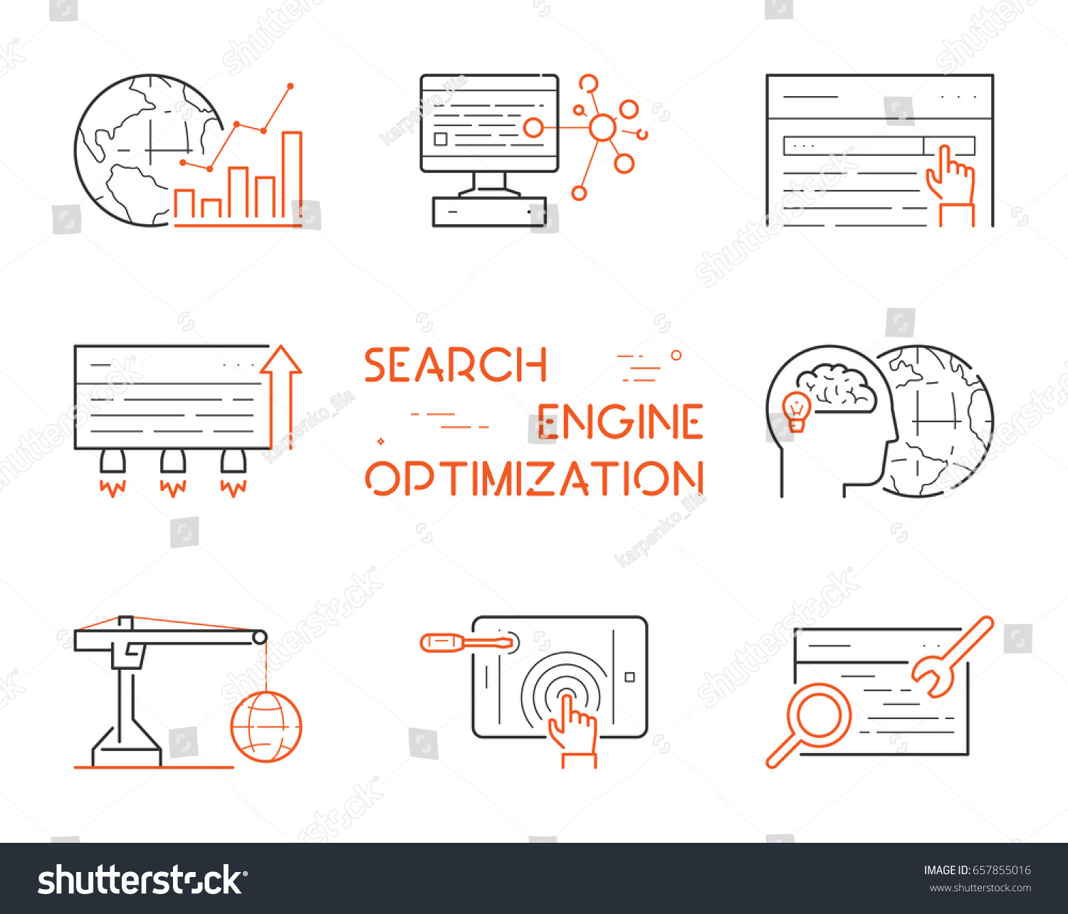 Set linear icons search engine optimization stock vector 657855016 set of linear icons for search engine optimization vector linear symbol for seo open buycottarizona Images