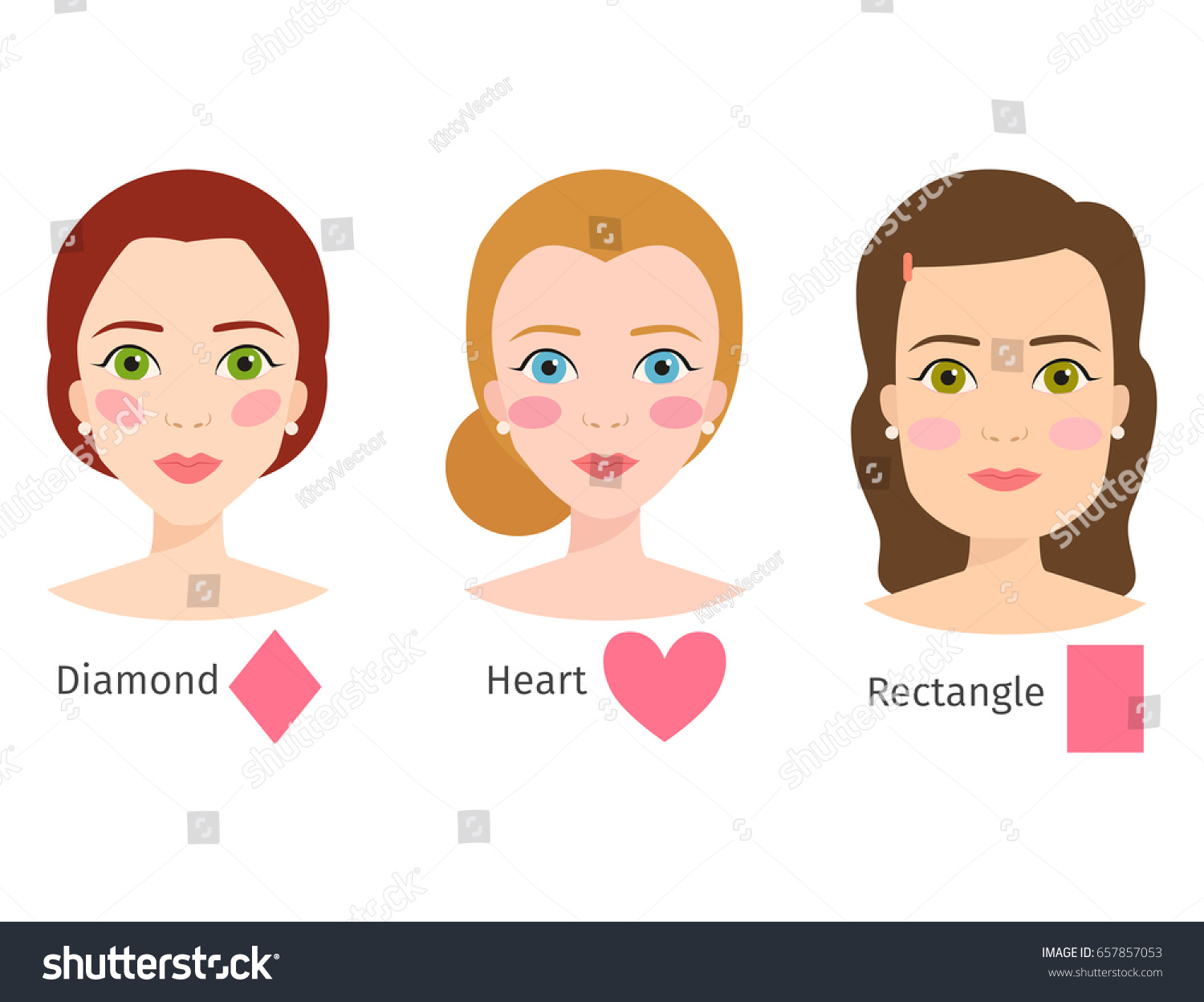 set different woman face types vector stock vector royalty free