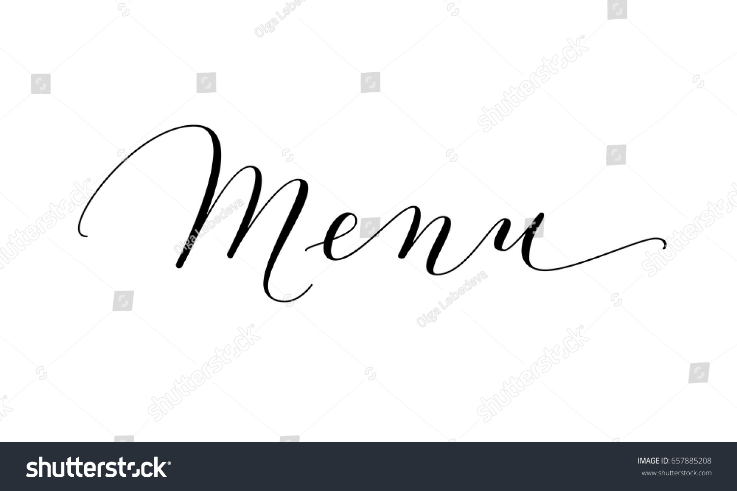 Menu word hand written custom calligraphy stock vector