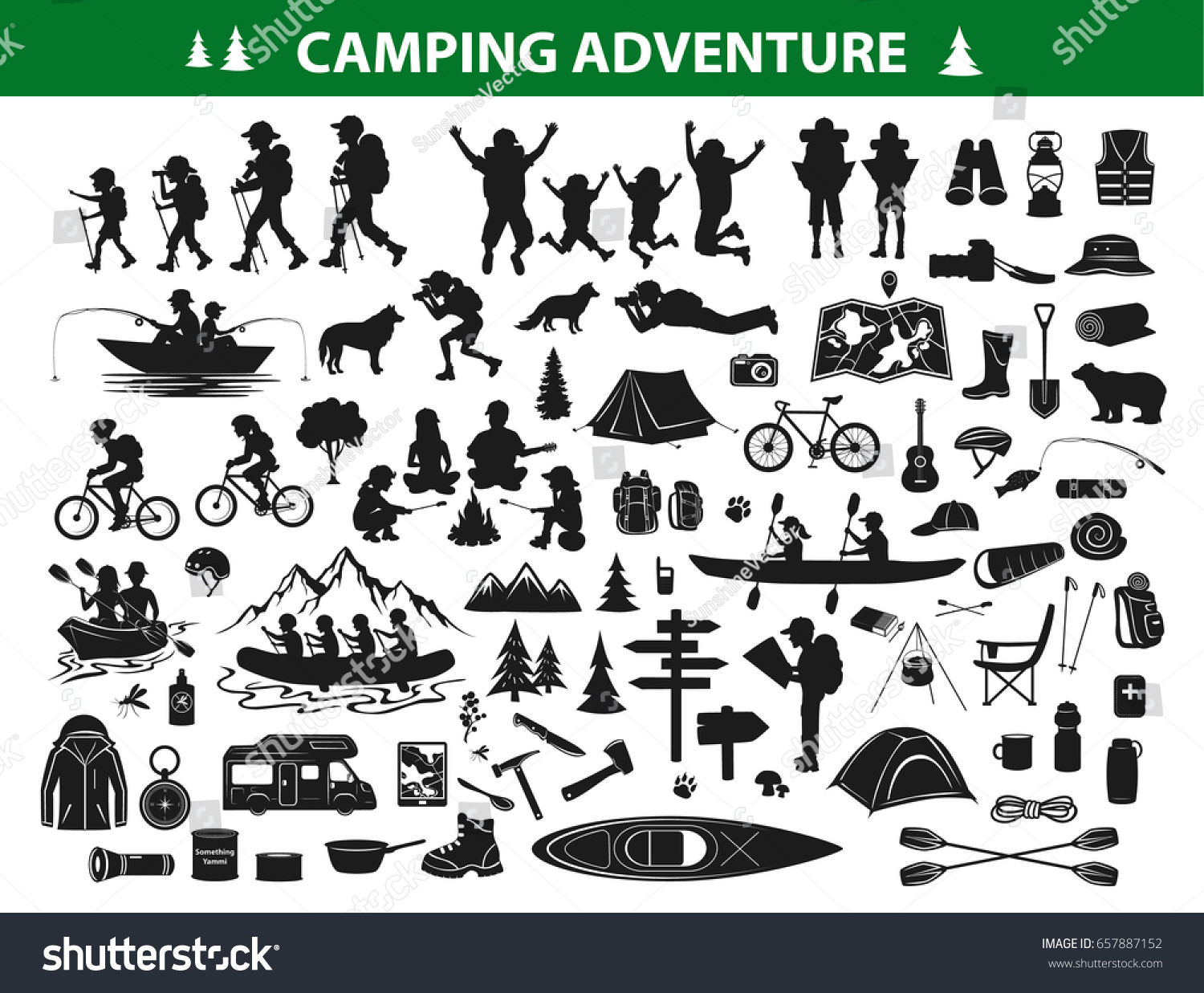 Camping Hiking Silhouette Collection Set People Stock