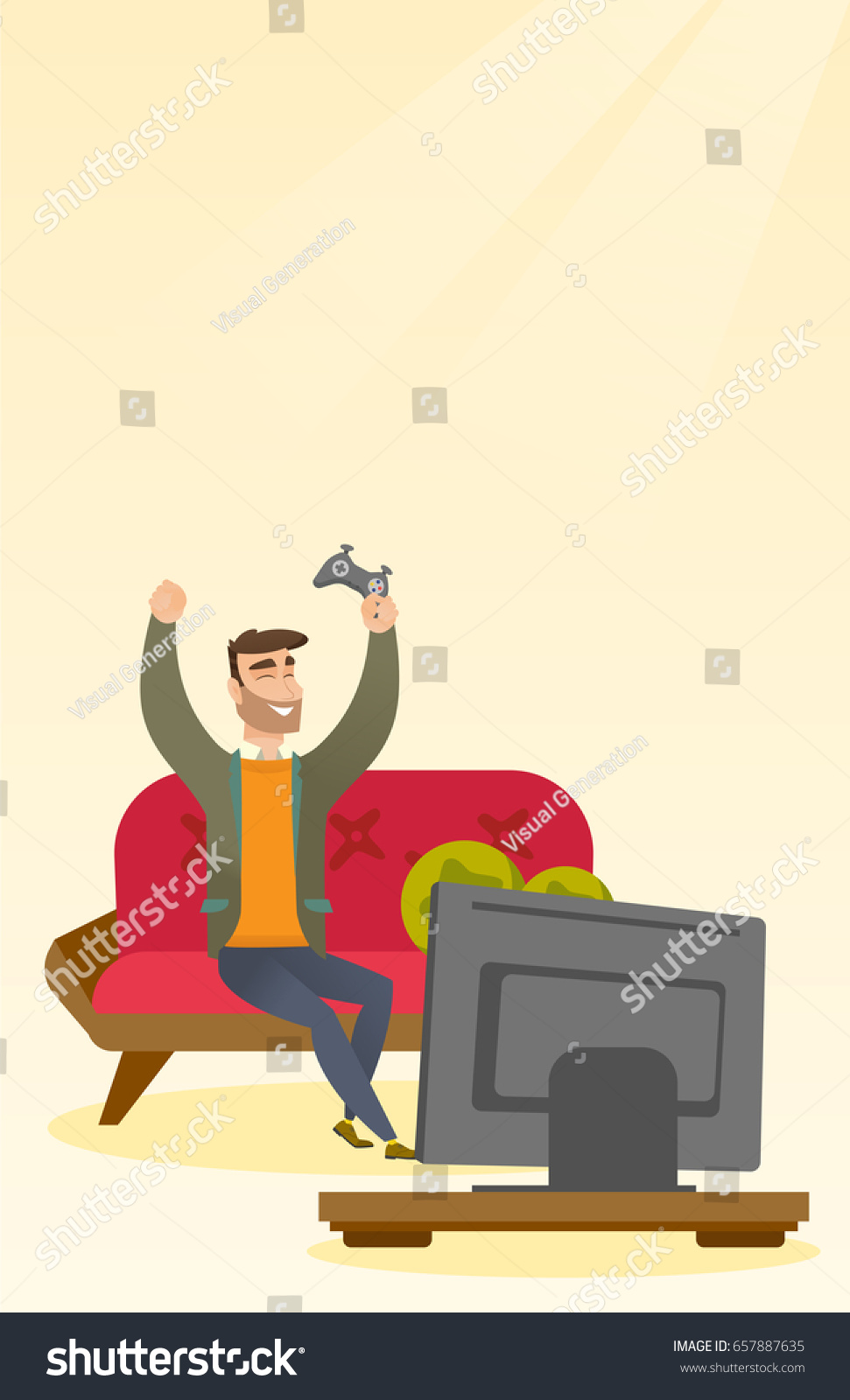 Caucasian Man Playing Video Game Young Stock Vector HD (Royalty Free ...