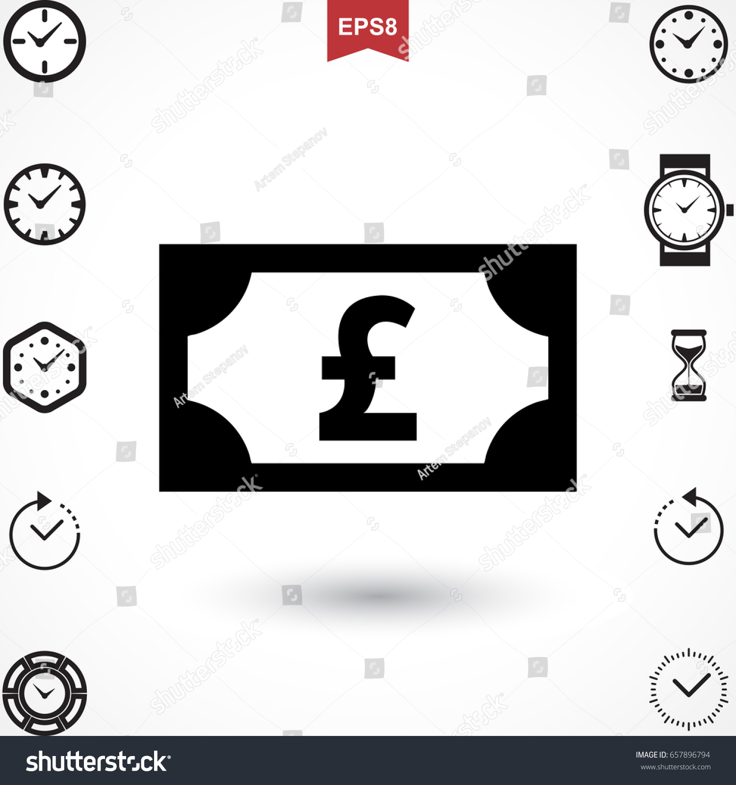 Money Pound Icon Flat Sign National Stock Vector Royalty Free