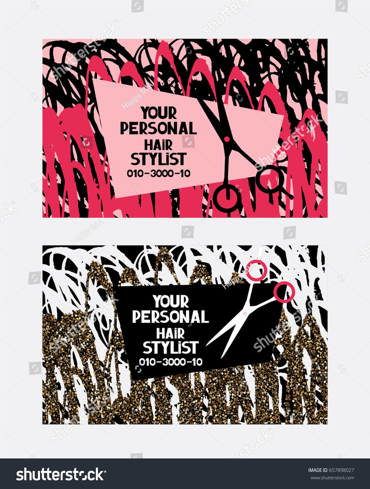 Hairstylist Abstract Business Cards Womans Hair Stock Vector ...