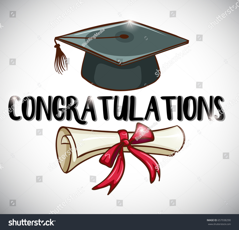congratulations card template cap degree illustration のベクター
