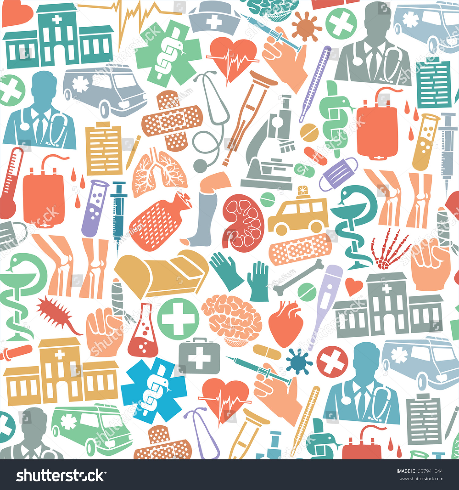 background pattern medical icons snake bowl stock vector 657941644