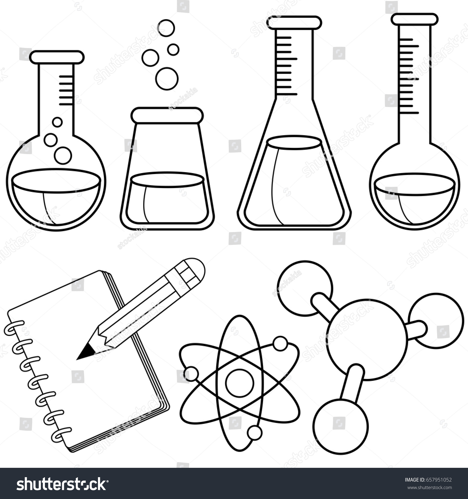 Science Chemistry Set Black White Coloring Stock Vector 657951052 ...