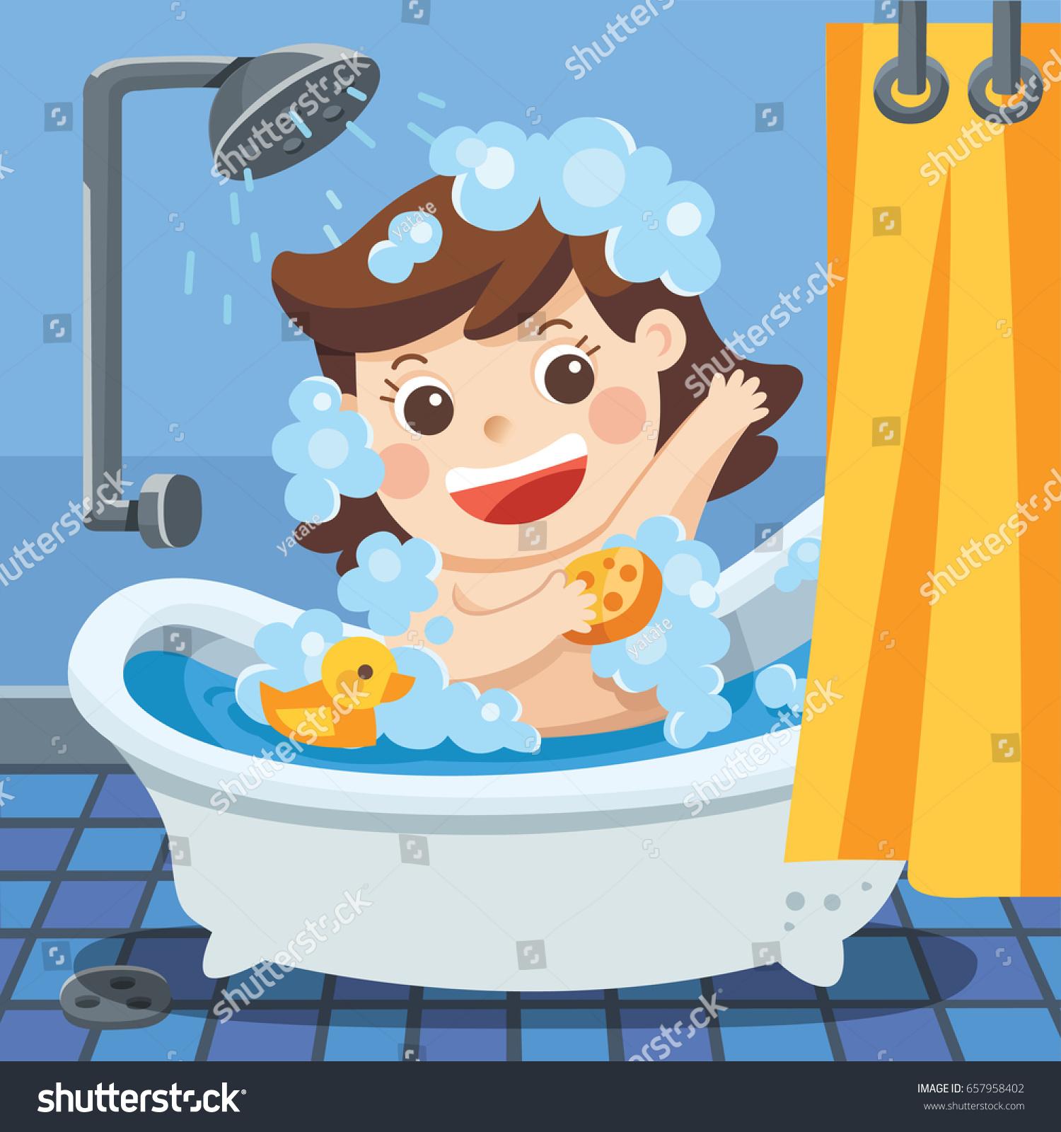 Bathroom Baby Girl Taking Bath Bathtub Stock Vector (2018) 657958402 ...