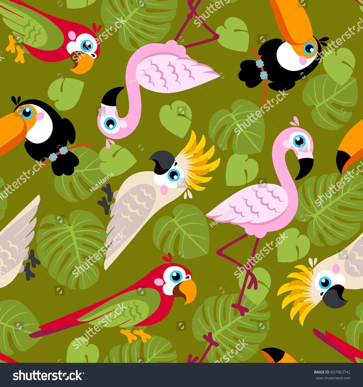 Seamless Pattern Pink Flamingos Cockatoo Parrot Stock Vector