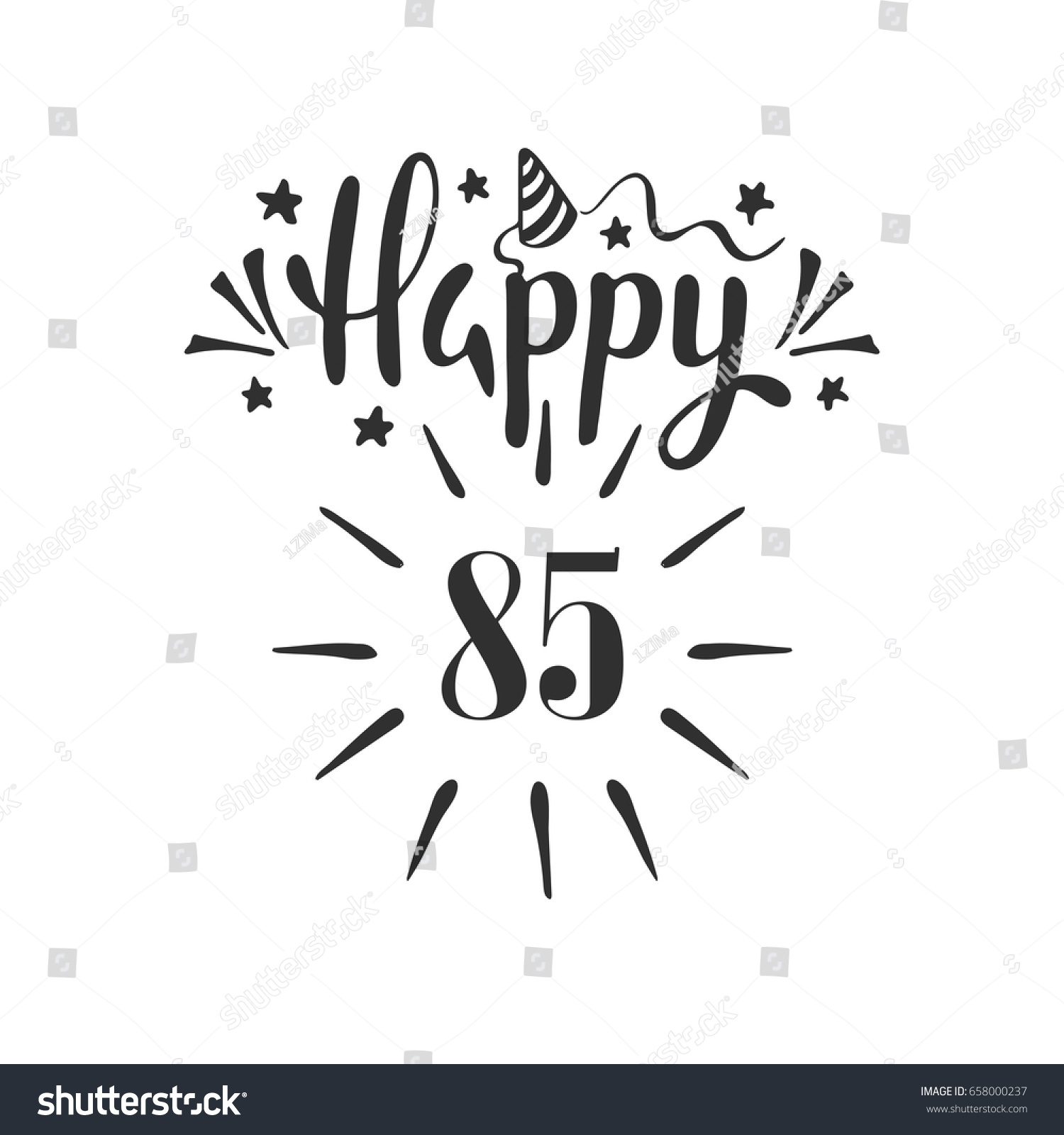 Happy 85th Birthday Lettering Hand Drawn Stock Vector Royalty Free