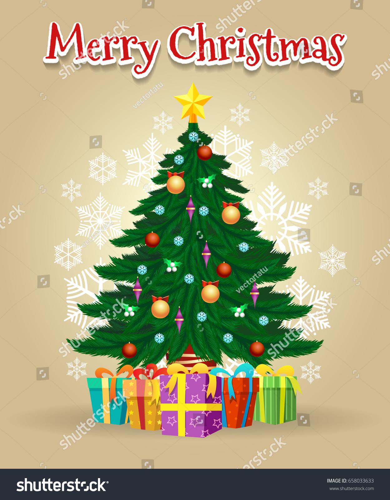 cartoon christmas tree card gifts star stock vector 658033633