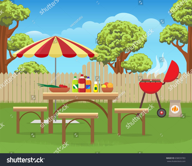 Summer Backyard Fun Bbq Grilling Barbecue Stock Vector - Backyard bbq party cartoon