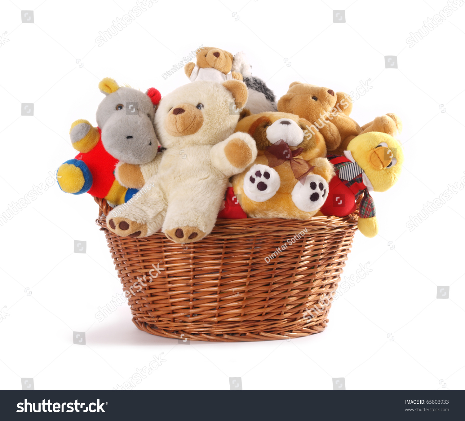 Soft Toys Clip Art : Stuffed animal toys basket isolated on stock photo