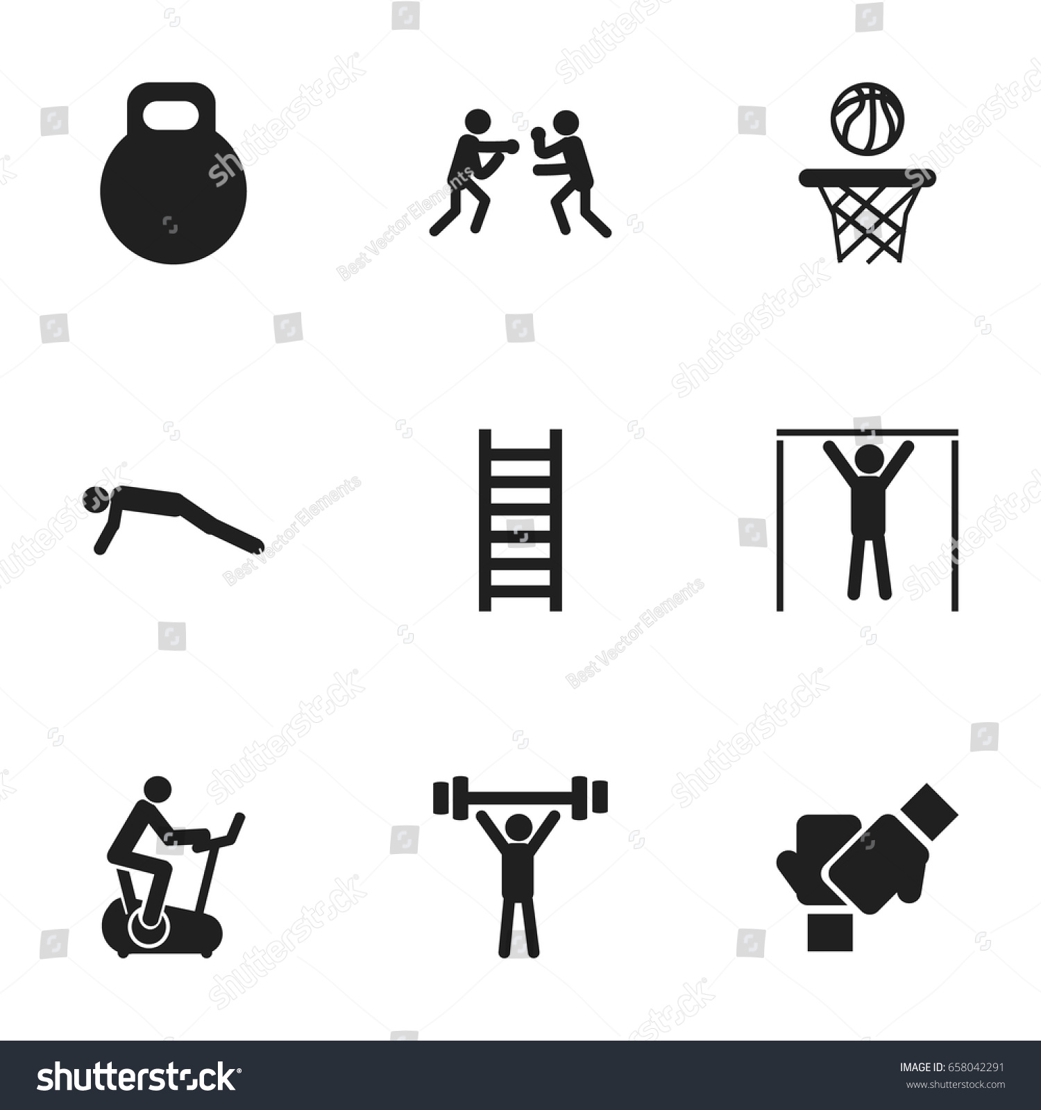 Set 9 editable sport icons includes stock vector 658042291 set of 9 editable sport icons includes symbols such as bodybuilding street workout biocorpaavc