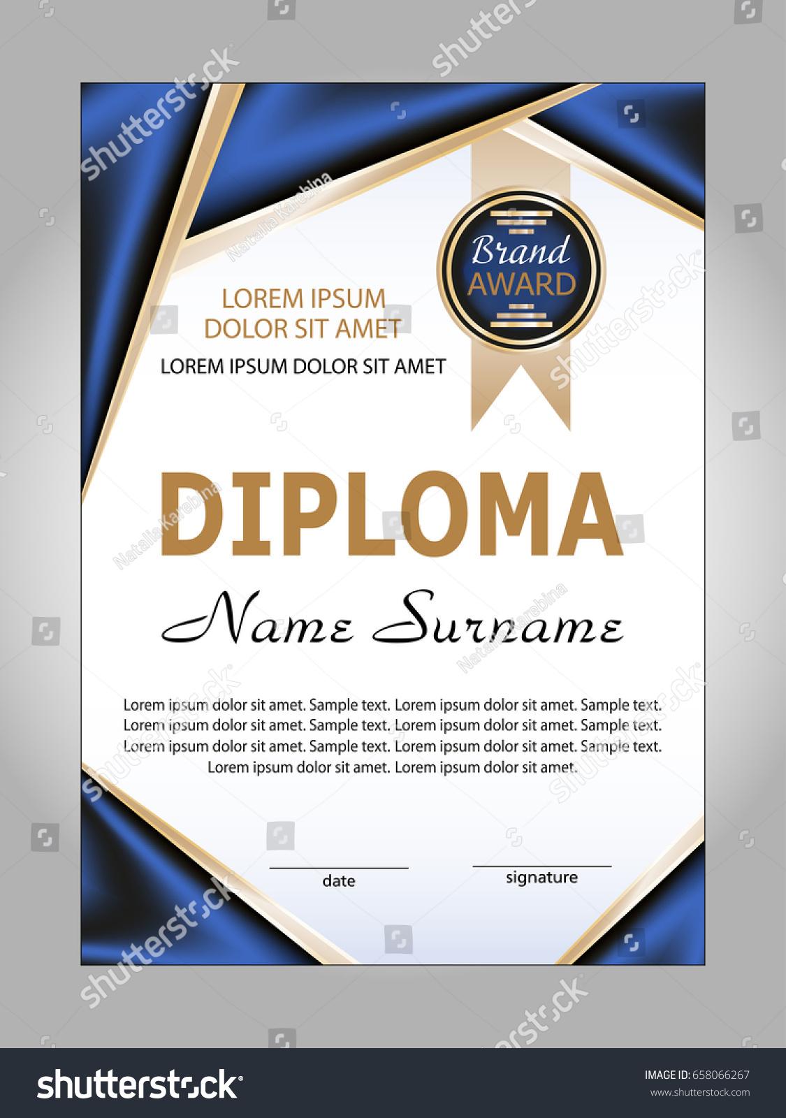 Template diploma certificate winning competition reward stock template diploma or certificate winning the competition reward vector illustration yelopaper Choice Image