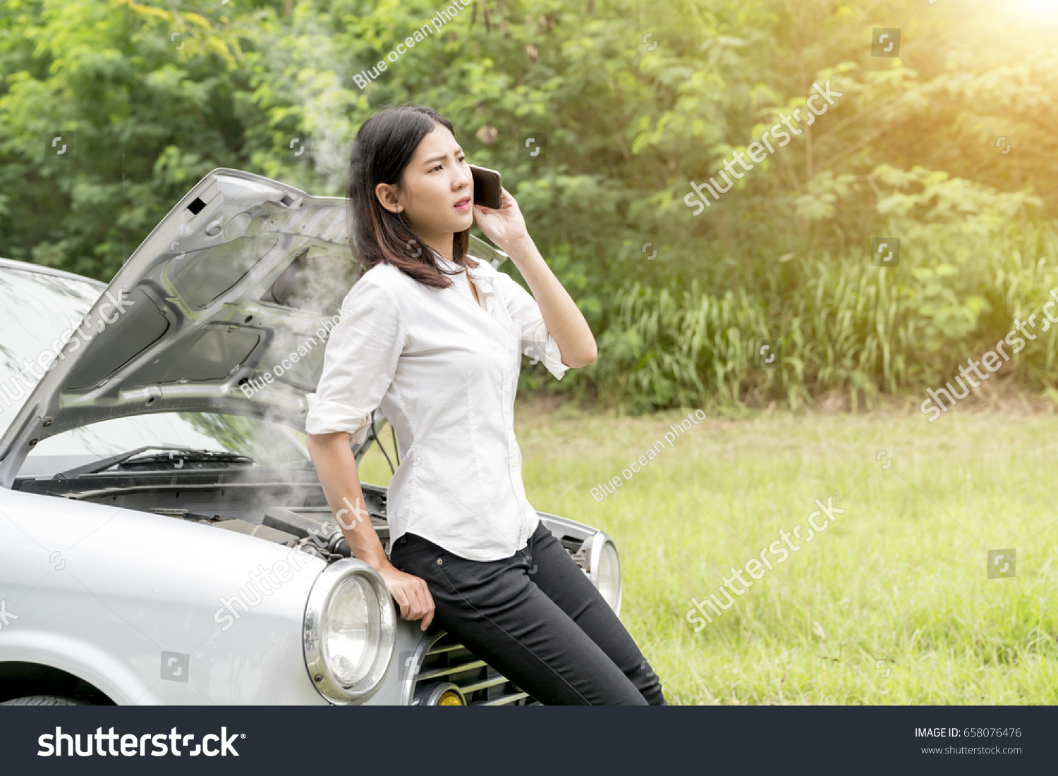 Young Asian Woman Worry About Car Stock Photo (Royalty Free ...