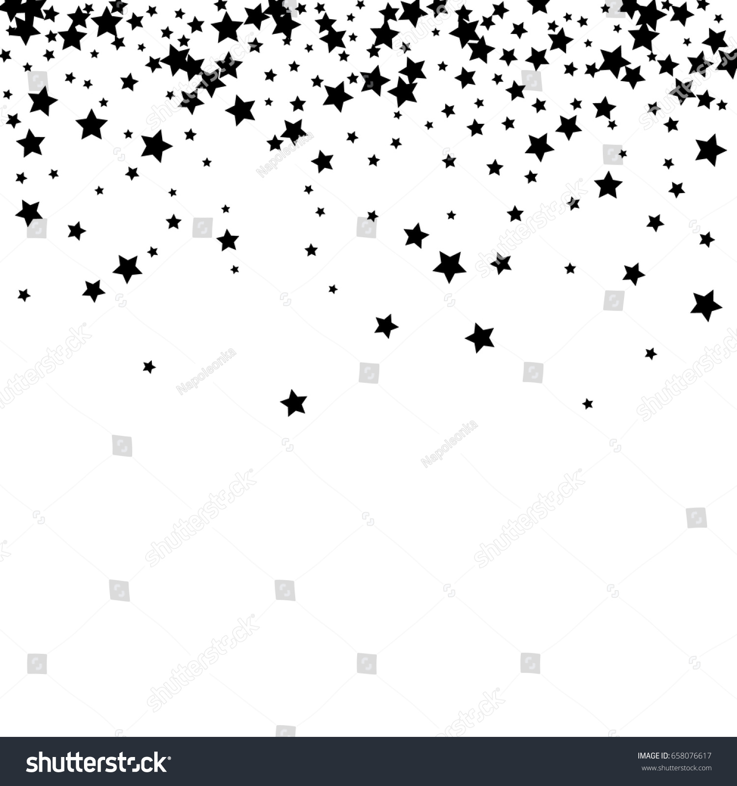 Black Stars On A White Background Vector Star Confetti Splash Isolated