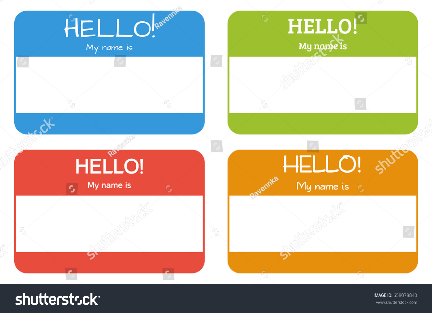 Introduction Name Card Classic Phrase Hello Stock Vector - Hello my name is tag template