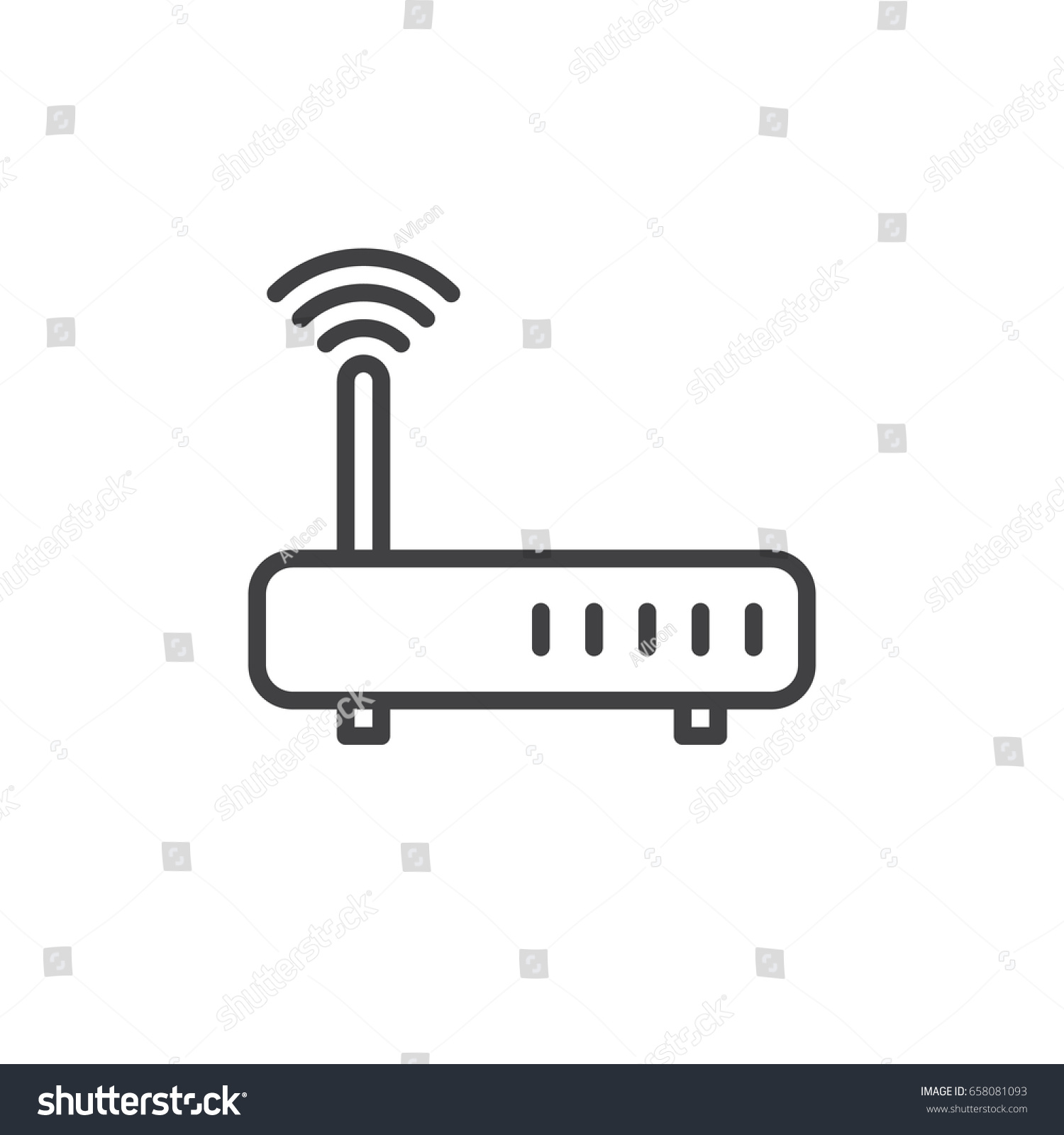 Wifi Internet Router Line Icon Outline Stock Vector Royalty Free