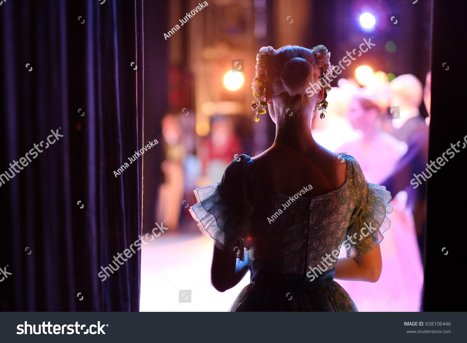A ballerina awaiting the moment of entering the stage in the play #658106446