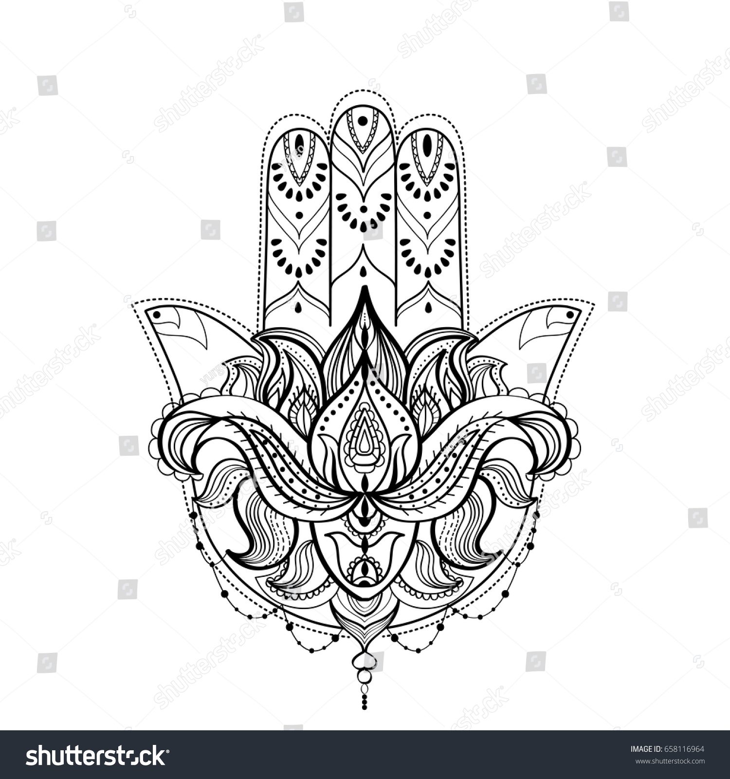 Hamsa hand lotus flower black white stock vector 658116964 hamsa hand with lotus flower black and white illustration for a tattoo or an adult izmirmasajfo Choice Image