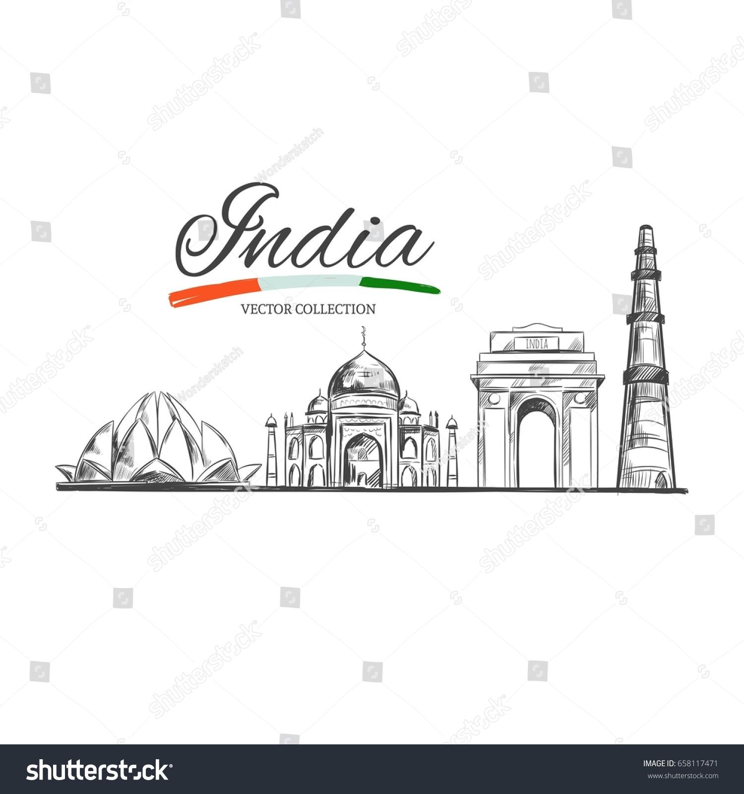 Lotus Temple Taj Mahal Gate India Stock Vector Royalty Free